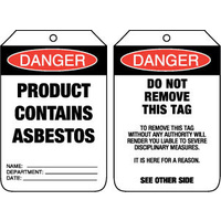 Pkt of 100 Cardboard - Danger Product Contains Asbestos