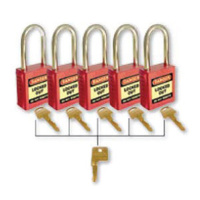 42mm Premium Safety Padlocks - Set of 5 With Master Key