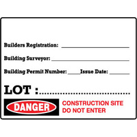 600x450mm - Metal - Builders Registration___  Building Surveyor___ Building Permit Number___ Issue Date___  Lot:___