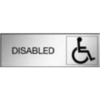 300x100 - Engraved Label - Black/Brushed Aluminium Traffilite - Adhesive Backed - Disabled (With Picto)