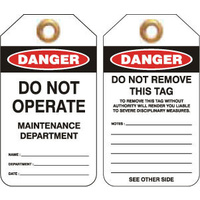 Pkt of 25 Heavy Duty PVC - Danger Maintenance Department