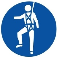 200mm Disc - Self Adhesive - Safety Harness Pictogram