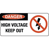 750x350mm - Metal - Danger High Voltage Keep Out (with Picture)