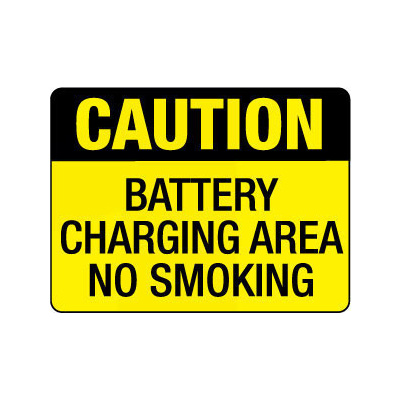 Caution Battery Charging Area No Smoking