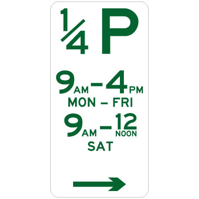 1/4 Hour Parking (Right Arrow)